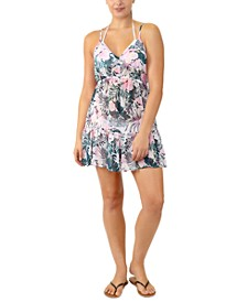 Juniors' Adjustable Palm-Leaf-Print Cover-Up, Created for Macy's
