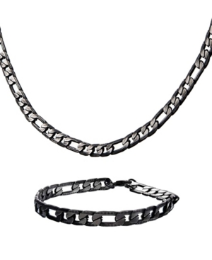 Men's Figaro Chain Necklace and Bracelet Set