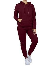 Women's Pullover Fleece Hoodie with Fleece Jogger Sweatpants 2-Piece Set