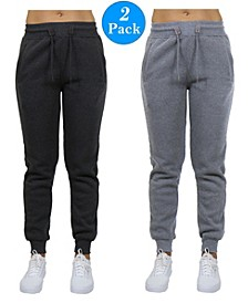Women's Slim Fit Heavy Weight Fleece Lined Joggers - 2 Pack