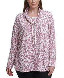 Plus Size Printed Cowl-Neck Top