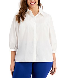 Plus Size 3/4-Sleeve Pleat-Back Shirt, Created for Macy's