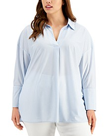 Plus Size Striped Pullover Shirt, Created for Macy's