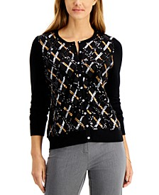 Sequined Argyle Cardigan, Regular & Petite Sizes, Created for Macy's