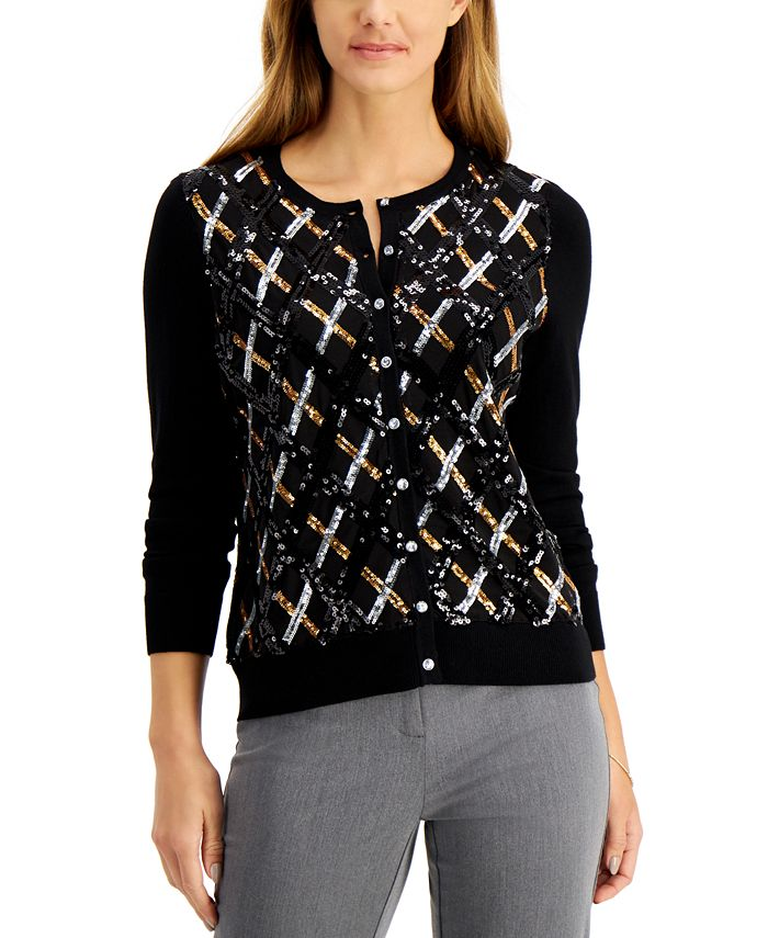Charter Club - Sequined Argyle Cardigan