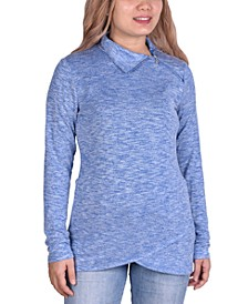 Petite Zippered High-Neck Pullover Top