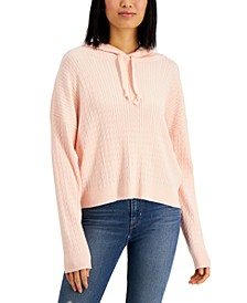 Juniors' Hooded Cable-Knit Sweater