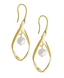 Teardrop Earrings with Imitation Pearl Drop in Fine Silver Plate