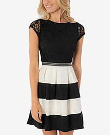 Juniors' Lace & Stripes Fit & Flare Dress