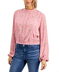 Juniors' Lace-Trim Floral-Print Blouse
