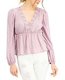 Juniors' Lace-Trimmed Empire-Waist Top