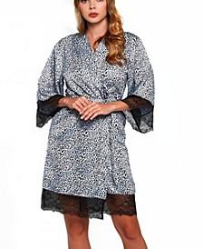 Women's Plus Size Leopard and Lace Wrap