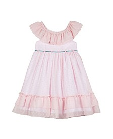 Little Girls Chiffon Clip Dot with Ruffle Collar and Hem Dress