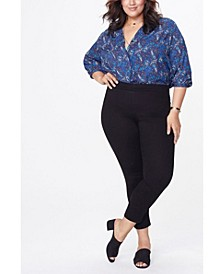 Plus Size Skinny Ankle Pull-On Side Slit Jeans