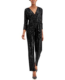 INC Long-Sleeve Banded Jumpsuit, Created for Macy's