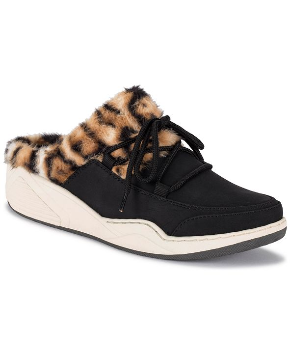 Baretraps Landon Faux Fur Lace Up Slippers