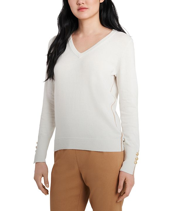 Riley & Rae Clara Metallic-Trim Sweater, Created for Macy's