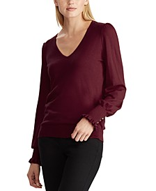 Plus-Size Buttoned-Cuff Long-Sleeve Sweater