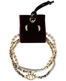 Two-Tone 4-Pc. Set Crystal Evil Eye Beaded Stretch Bracelets & Drop Earrings