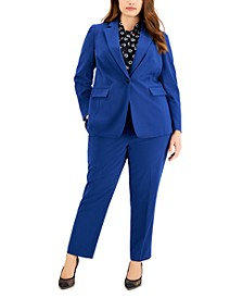 Trendy Plus Size Blazer, Printed Blouse & Pants, Created for Macy's
