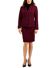 Two-Button Seamed Skirt Suit