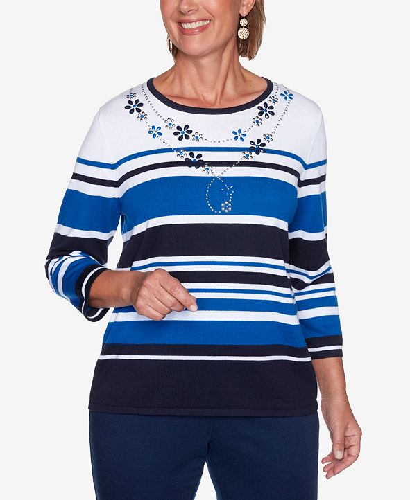Alfred Dunner Women's Missy Vacation Mode Multi-Striped Sweater
