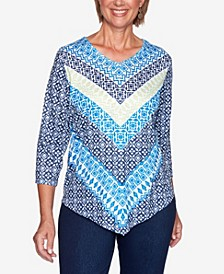 Women's Missy Vacation Mode Geometric Chevron Knit Top