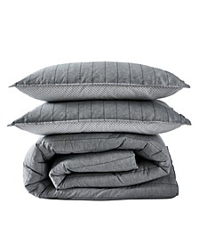Chambray Pinstripe Full/Queen Comforter Set, 3 Piece