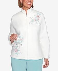 Women's Missy St. Moritz Asymmetric Floral Embroidery Polar Fleece