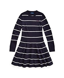Big Girls Logo Striped Sweater Dress