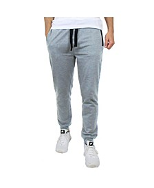 Men's Slim Fitting French Terry Jogger Lounge Pants with Zipper Pockets