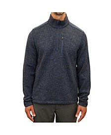 Men's Mixed Media Quarter Zip Sweater Fleece Pull Over