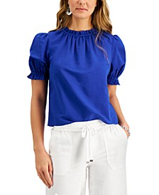 Cinched-Sleeve Knit Top, Created for Macy's