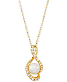 "Cultured Freshwater Pearl (8mm) & Cubic Zirconia 18"" Pendant Necklace, Created for Macy's"