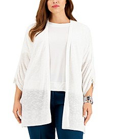 Plus Size Ruched-Sleeve Cardigan