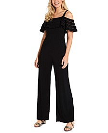 Illusion-Striped Cold-Shoulder Jumpsuit