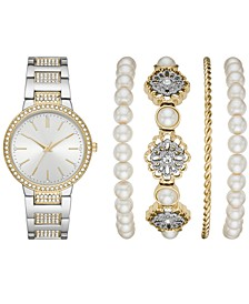 Women's Two-Tone Stainless Steel & Crystal Bracelet Watch 34mm Gift Set