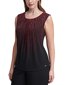 Plus Size Dot-Print Sleeveless Top
