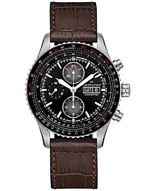 Men's Swiss Automatic Chronograph Khaki Aviation Converter Brown Leather Strap Watch 44mm