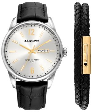 2-Pc. Set Black Leather Strap Watch 40mm & Woven Leather Wrap Bracelet