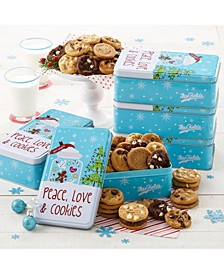 Case of 5, Peace, Love and Cookies 30 Nibblers Bite-Sized Cookies Tin