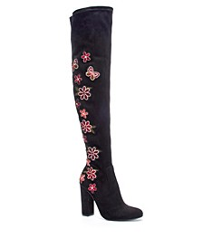 Briella Embroidered Over The Knee Boots