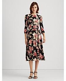 Rose-Print Balloon-Sleeve Dress