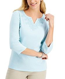 Petite Embellished-Flower Crochet Top, Created for Macy's