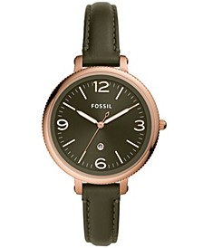 Women's Monroe Green Leather Strap Watch 38mm