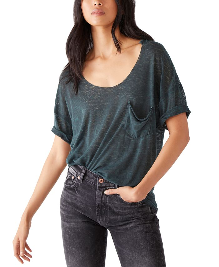 Free People - Summer Sky Distressed One-Pocket T-Shirt