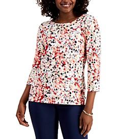 Jacquard 3/4-Sleeve Top, Created for Macy's