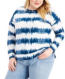 Plus Size Striped Sweatshirt, Created for Macy's
