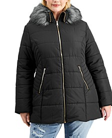 Trendy Plus Size Faux-Fur-Trim Hooded Puffer Coat