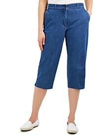 Petite Button-Hem Comfort-Waist Denim Capri Pants, Created for Macy's